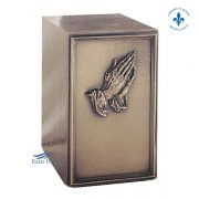 Cold cast bronze urn with hands
