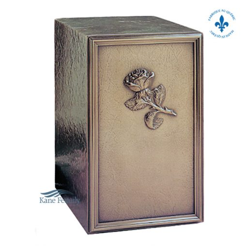 Cold cast bronze urn with rose