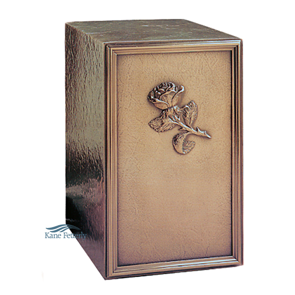 U2P03 Cold cast bronze urn with rose