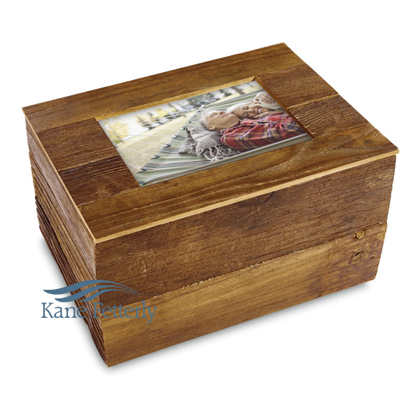 U4019 - Urn crafted in distressed reclaimed hardwood