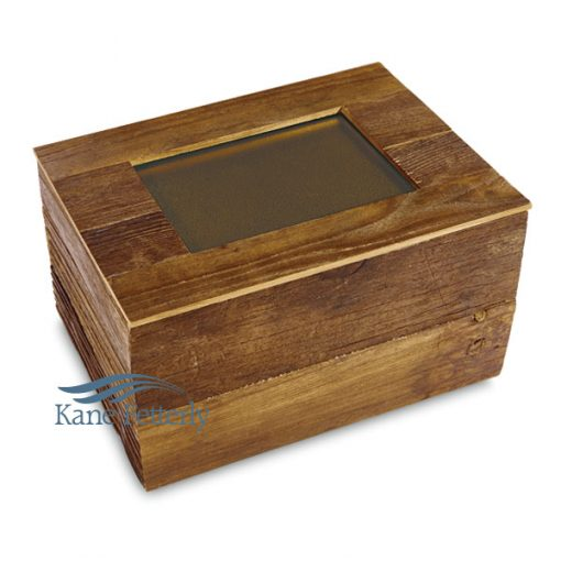 Urn crafted in distressed reclaimed hardwood shown with metal plaque