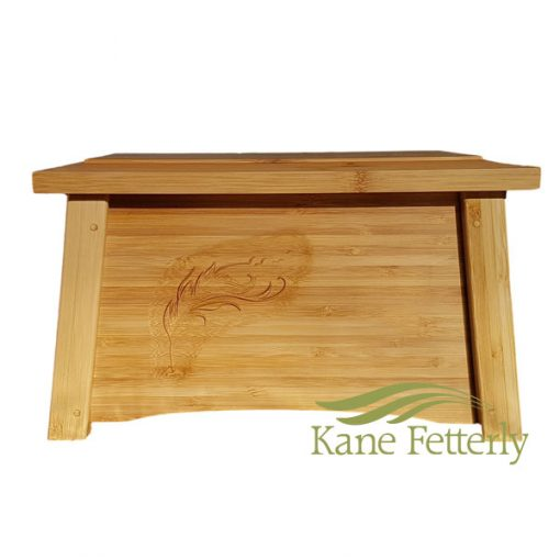 Bamboo urn with feather