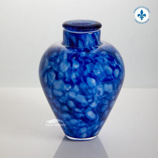 Blue hand-blown glass urn