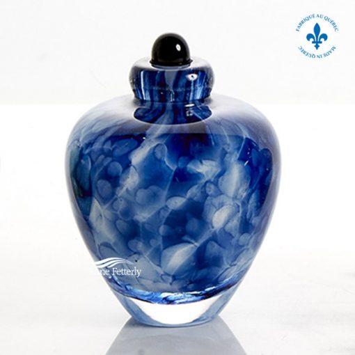 Blue glass miniature urn