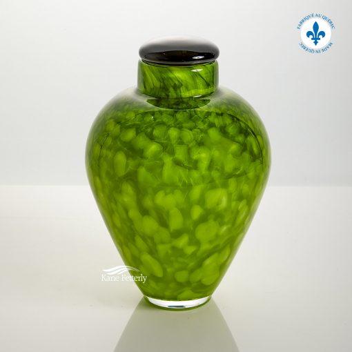 Lime green hand-blown glass urn