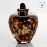 Amber hand-blown glass miniature urn