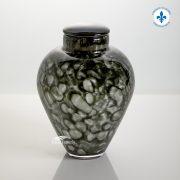 Grey hand-blown glass urn