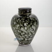 Grey hand-blown glass urn