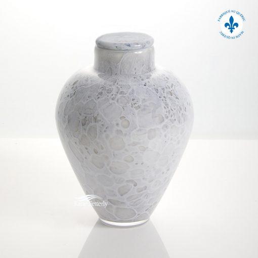 White hand-blown glass urn