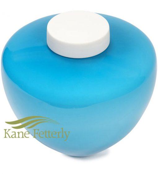 U8231 Blue glass urn with white ceramic top