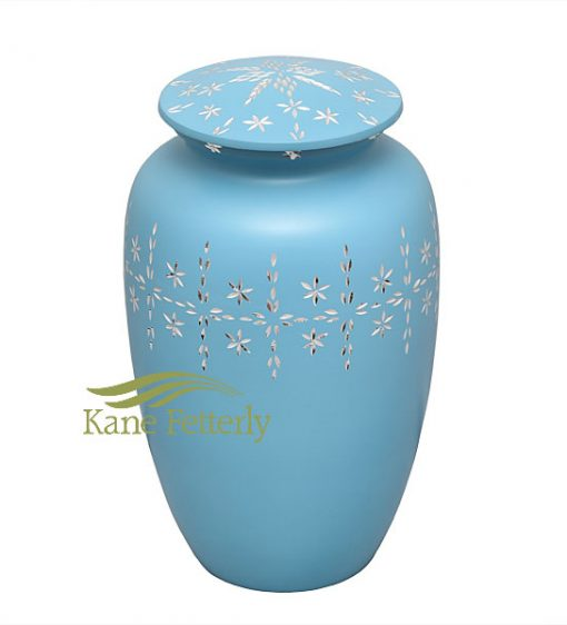U8403 Light blue aluminum urn