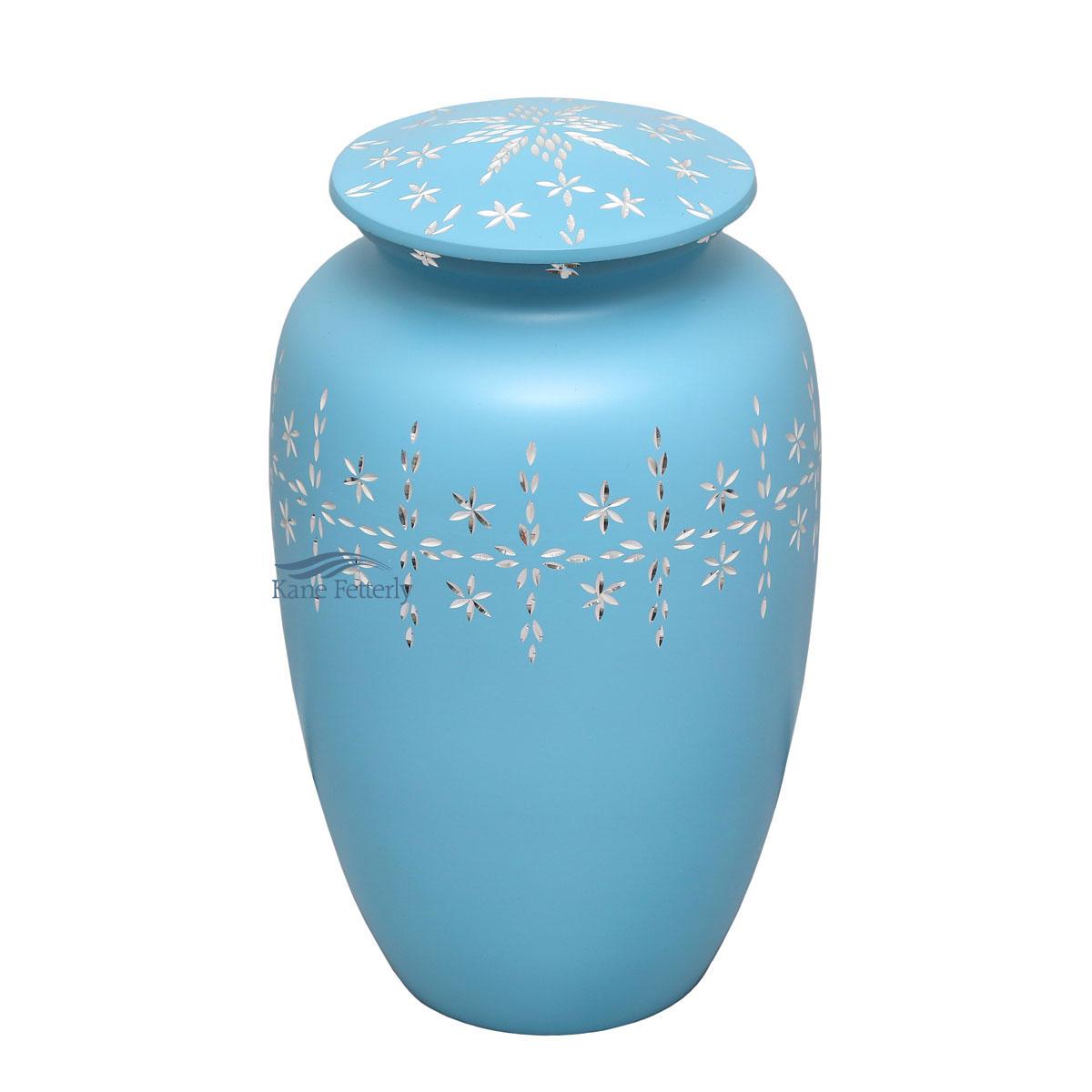 U8403 Light blue aluminum urn