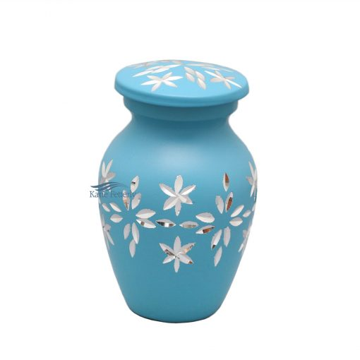 Light blue aluminum miniature urn
