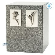 Zinc and aluminum double urn with calla lily and rose