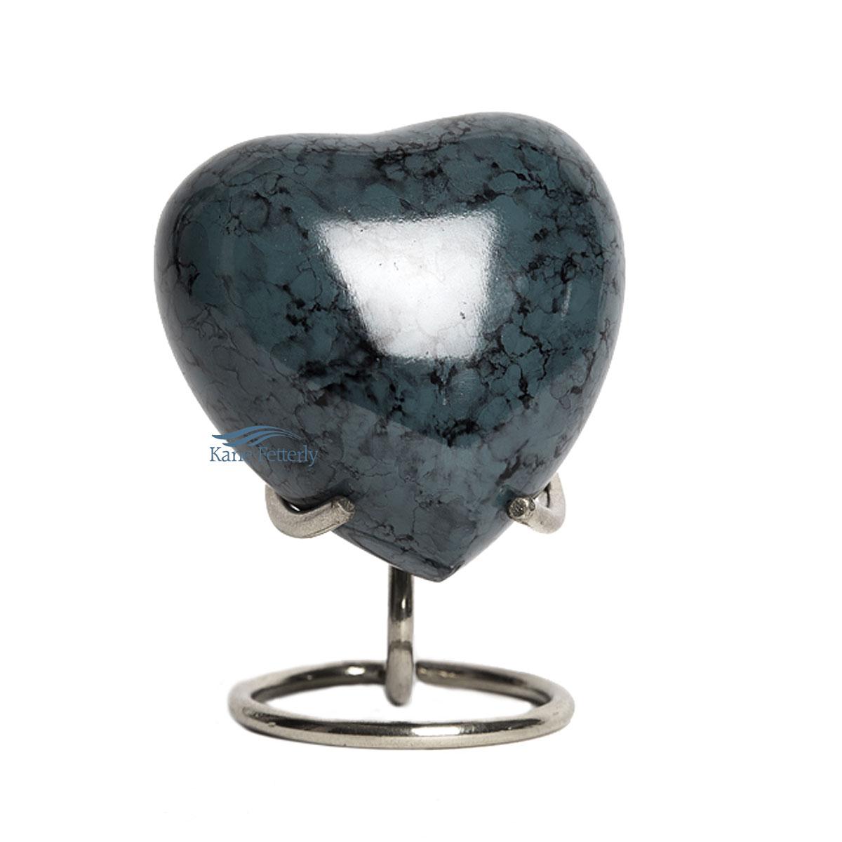 U85021H Dark grey aluminum heart miniature urn