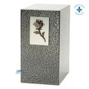 Zinc and aluminium urn with rose
