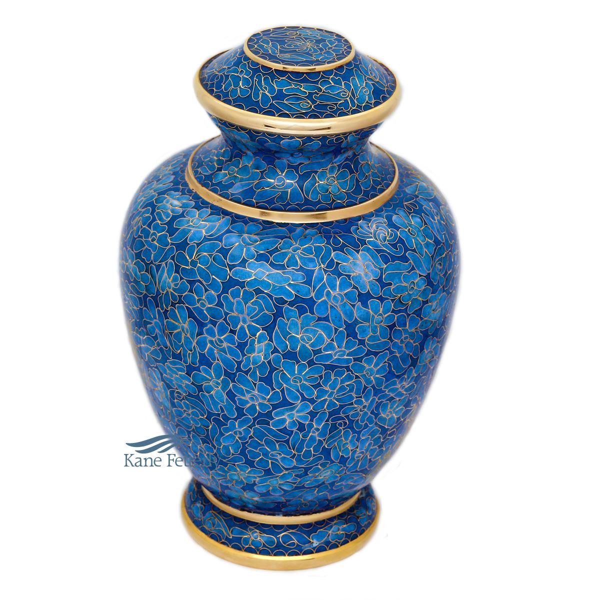 U8584 Blue Cloisonné urn