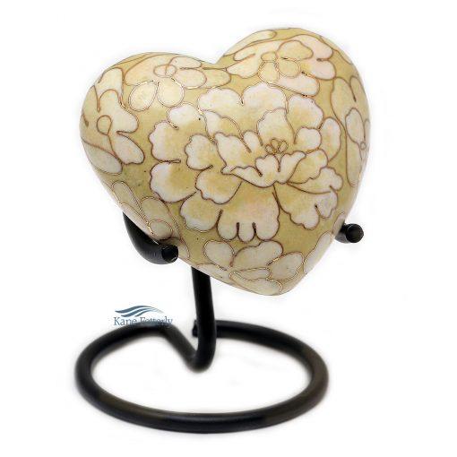 U8585H Cloisonne heart miniature urn