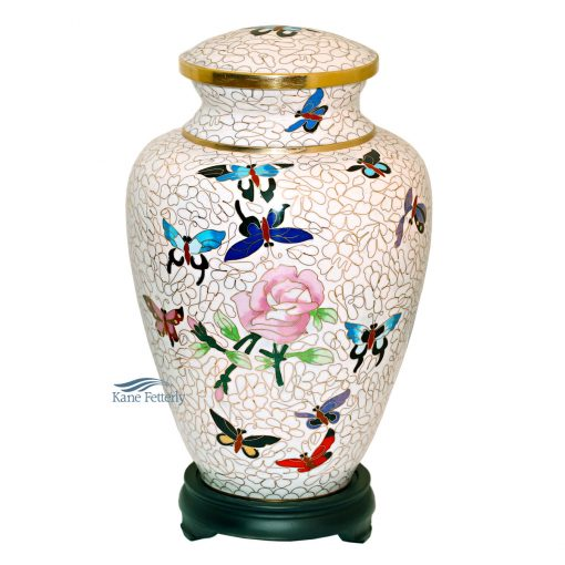 Cloisonné urn with rose and butterflies