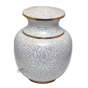 White and gold cloisonne Urn
