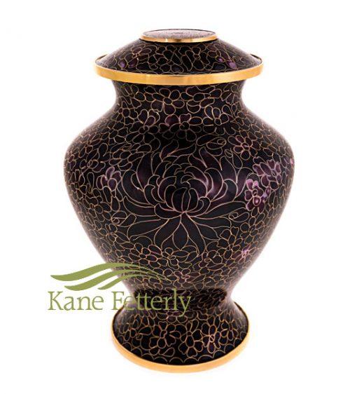 U8596 Deep purple and black cloisonné urn