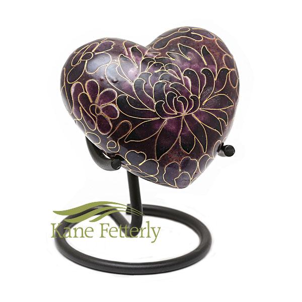 Cloisonné heart miniature urn