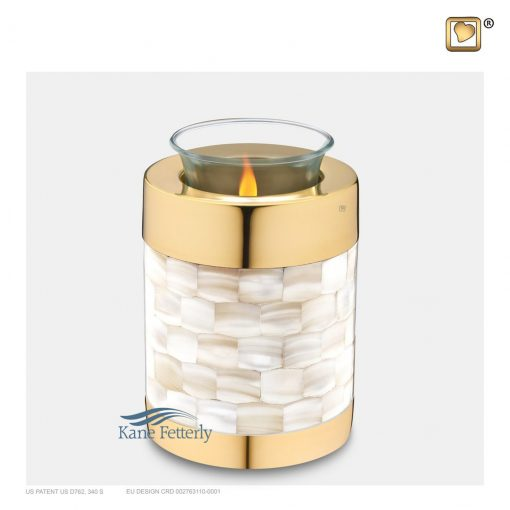 Tealight miniature urn with mother of pearl inlays and gold accents