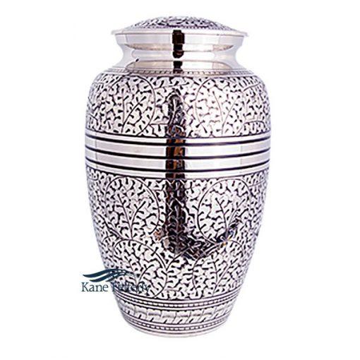 U86302 Brass urn with silver polished finish