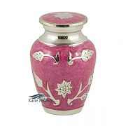 U8634K Pink brass miniature urn with silver sunflowers