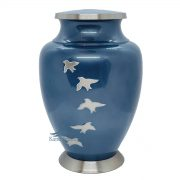 U86350 Blue brass urn with silver doves