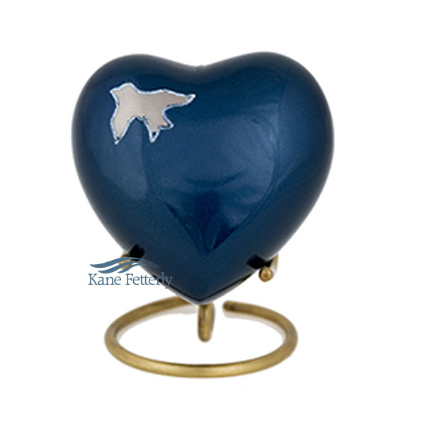U86350H Blue brass heart with silver dove