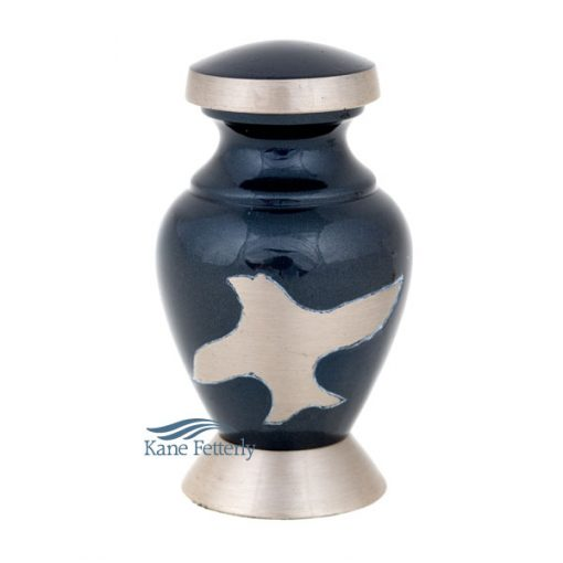 U86350K Brass miniature urn with doves