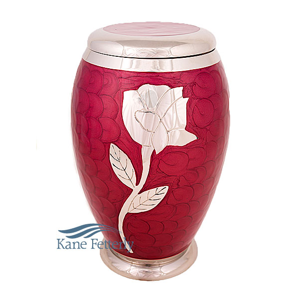 U86421 Brass urn with rose