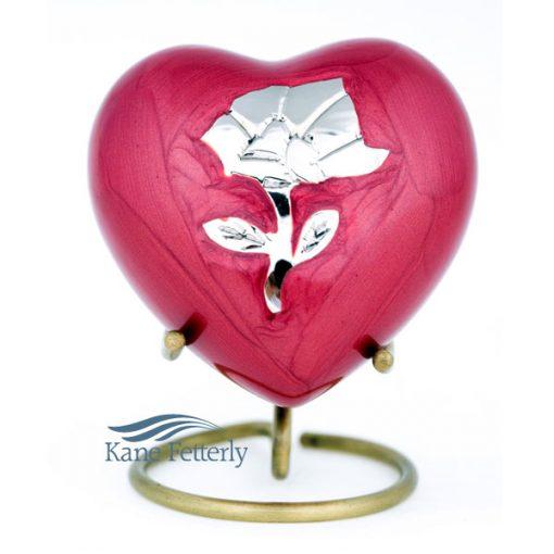 Urne miniature en coeur à motif de rose