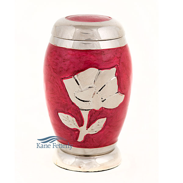 U86421K Brass miniature urn with rose