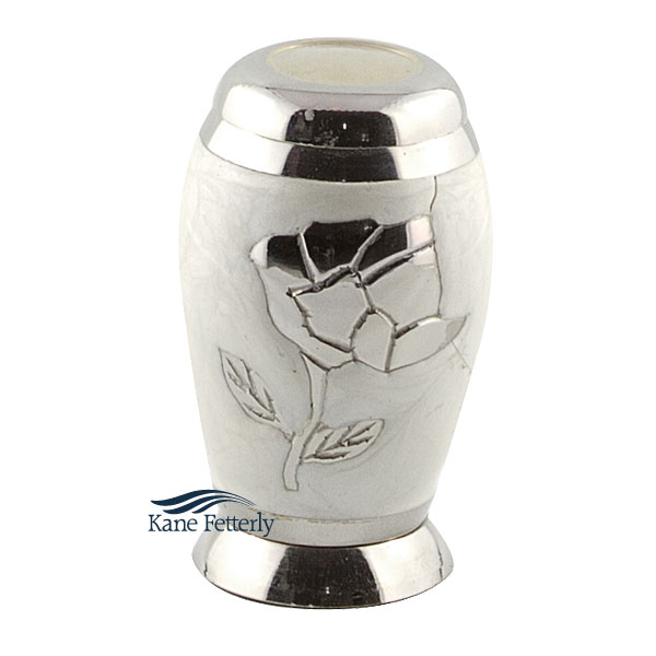 U8642K Brass miniature urn with rose