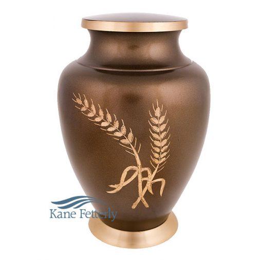 U86431 Brass urn with wheat sheaf motif