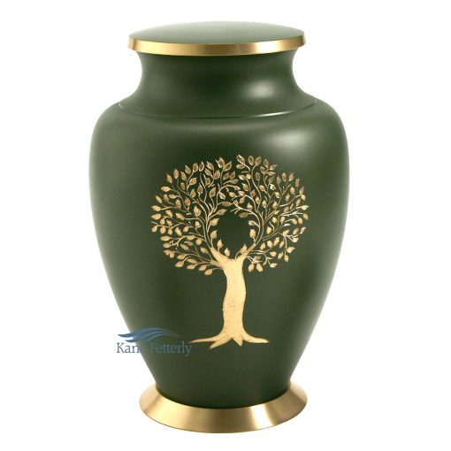 Green brass urn with gold tree