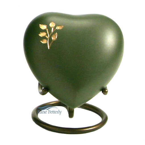 Green heart miniature urn with tree of life motif