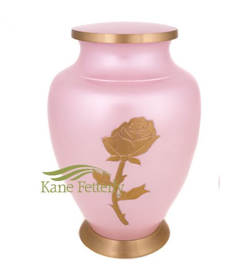 U86461 Pink brass urn with rose