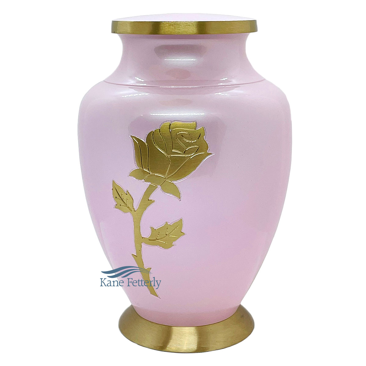 U86461 Pink brass urn with rose