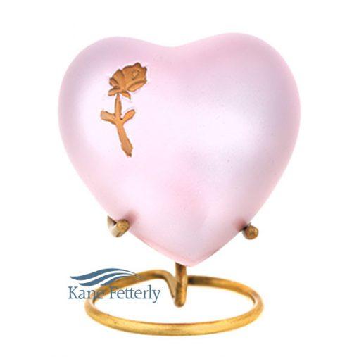 Urne miniature en coeur, motif rose