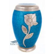 U8649 Blue urn with silver rose