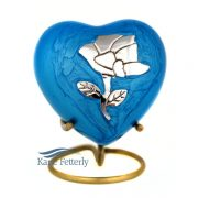 U8649H Blue heart miniature urn with rose