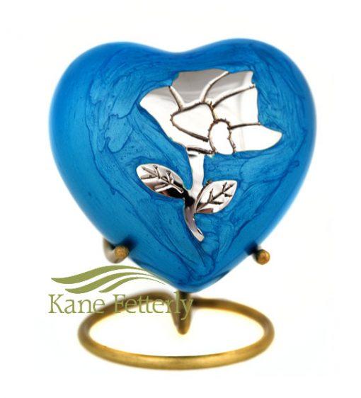 U8649H Urne miniature en coeur dotée d'une rose argentée, finition bleue nacré