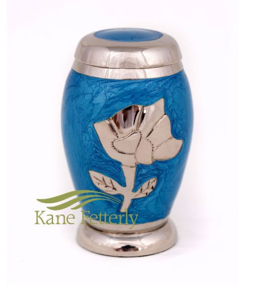 U8649K Blue miniature urn with rose