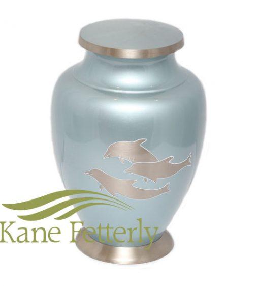 U86531 Brass urn with dolphins