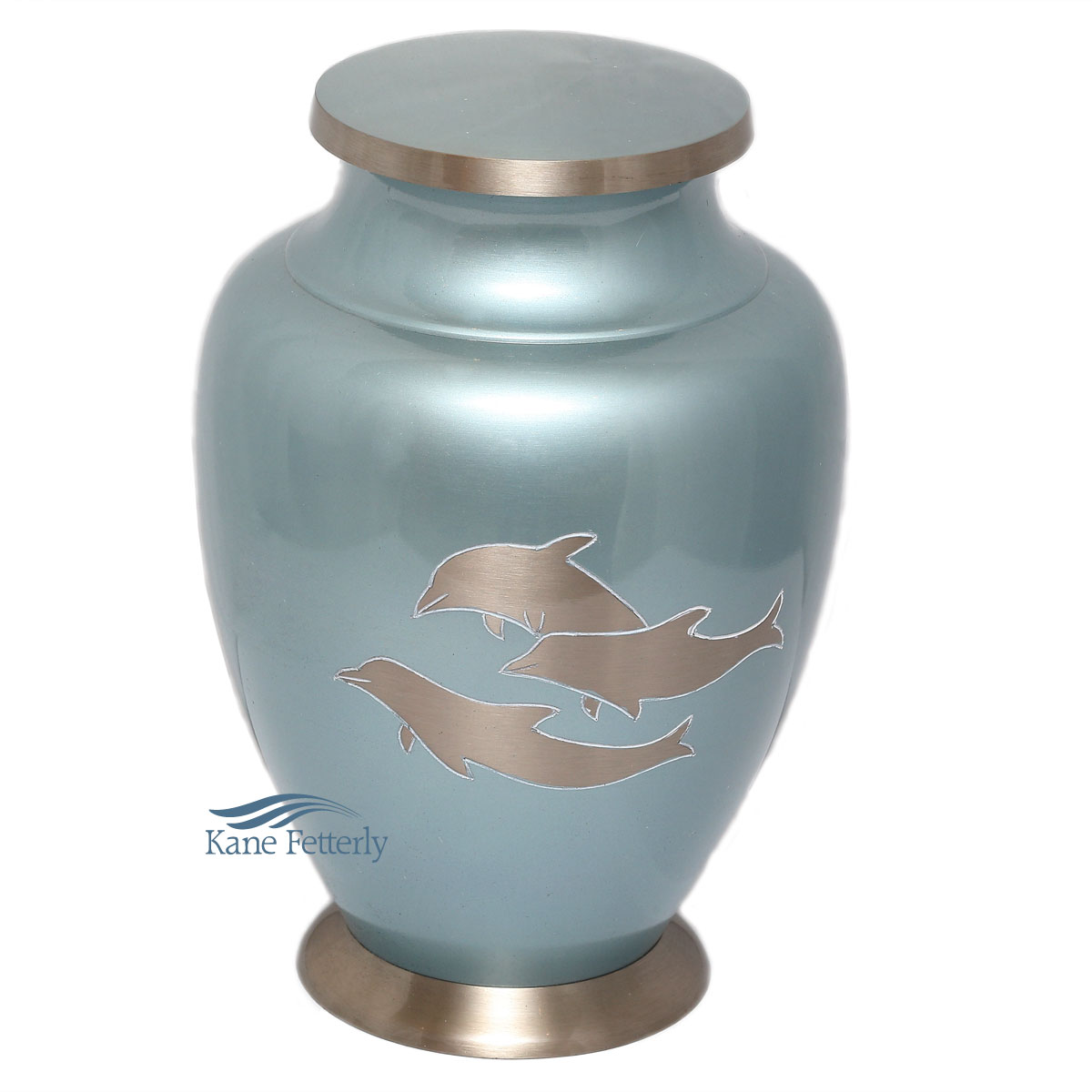 U86531 Brass urn with dolphins