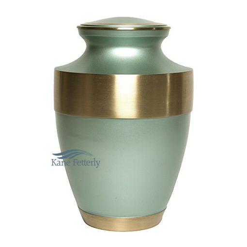 U86571 Sage green brass urn
