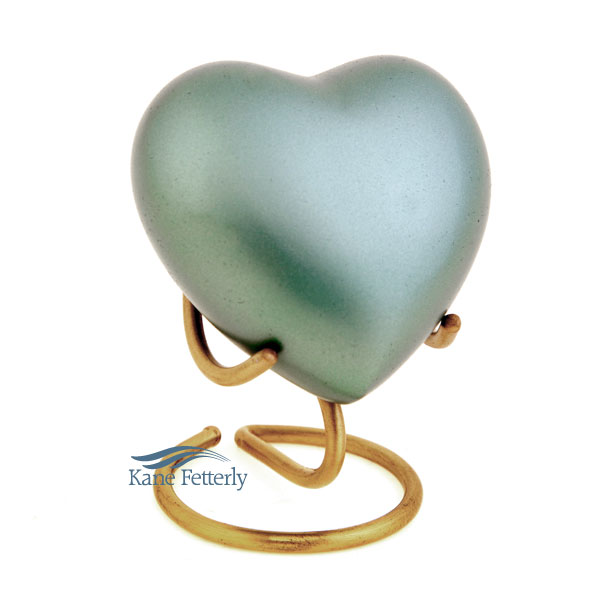 U86571H Green brass heart miniature urn